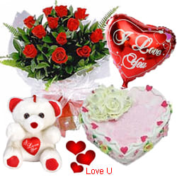 <u><font color=#008000> MidNight Delivery : </FONT></u>:12 Exclusive <font color =#FF0000> Dutch Red </font>   Roses  Bunch with Cute Teddy Bear, Love Cake 1 Lb and  Heart Shaped Balloons