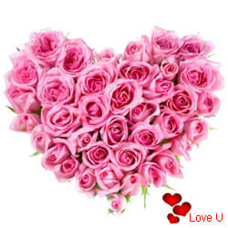 <u><font color=#008000> MidNight Delivery : </FONT></u>:Pink Heart Shaped Arrangements