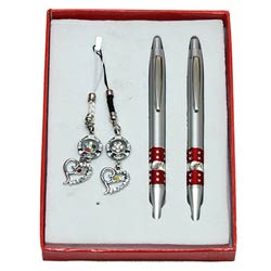 Twin Pen with Key Ring & Mobile Ring Gift Set