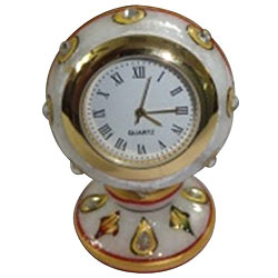 Marvelous Round Table Clock with a Base Made of Pure Makrana Marble