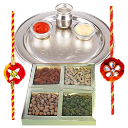 Pure Silver Thali with Dry Fruits along with  Free Rakhi, Roli Tilak and Chawal