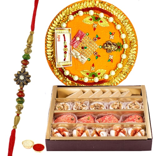 Tasty <font color=#FF0000>Haldiram</font> Mixed Sweets and Designer Rakhi Thali