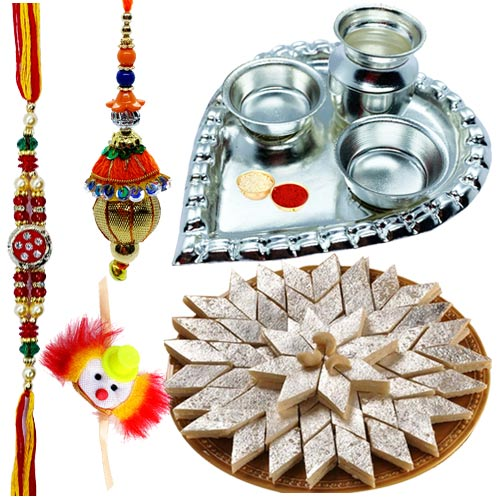 Holy Puja Aarti Thali with Kaju Katli and Rakhi