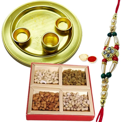 Special Gold Plated Thali with Dry Fruits and Rakhi