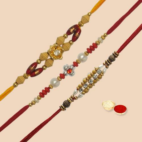 Beautiful Rakhi Sets (3 Pcs) with free Roli Tilak and Chawal