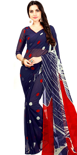 Glamorous Red and Navy Blue Colored Saree in Chiffon Fabric for Fashionable Women