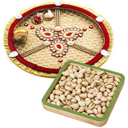 Mesmerizing Diwali Gift of Crunchy Pistachio Nuts and One Golden Thali
