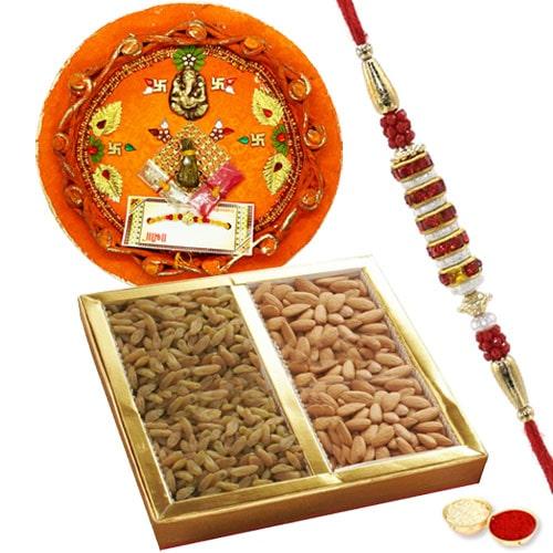 Rakhi Thali with Rakhi and Dry Fruits