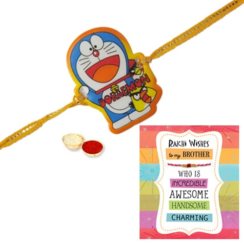 Amazing Doraemon Kid Rakhi N Rakhi Card