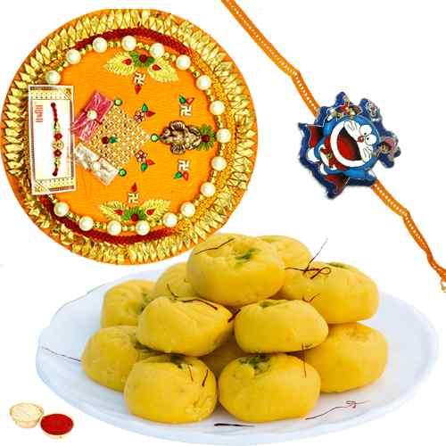 Mind-Blowing Rakhi Special Gift of Kesaria Peda, One Kids Rakhi and One Rakhi Thali