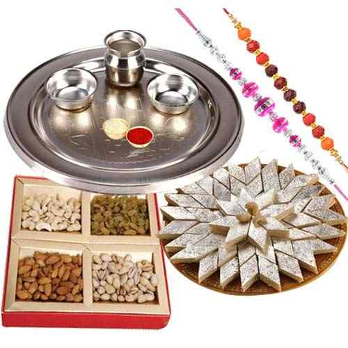 Assorted Dry Fruits , Fantastic Silver plated Thali, Kaju Katli along  with 2 Free Rakhi, Roli Tika and Chawal