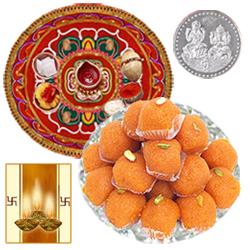 Diwali Thali with Boondi Laddoo