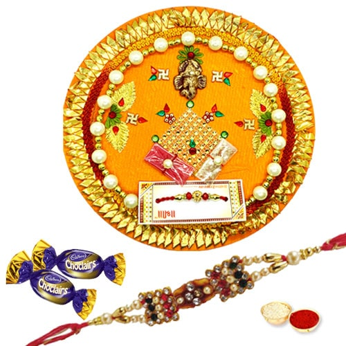 Breathtaking Rakhi Thali with Rakhi and Chocolates