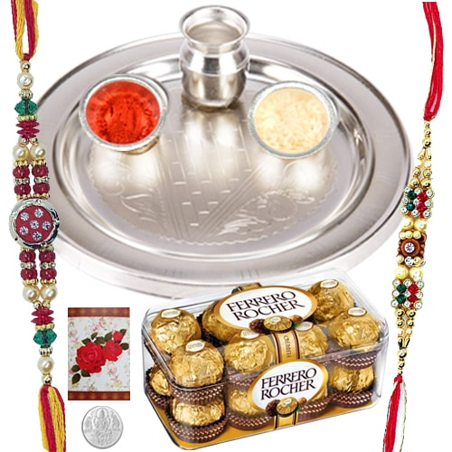 Appealing 2 Rakhis with 5 Inch. Silver Thali and 12 Ferrero Rocher