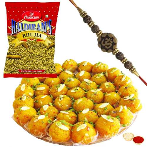 Delectable Boondi Ladoo of 250 gms. and Haldirams Bhujia of 200 gms. with a Fancy Rakhi
