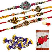 Mind-Blowing Two Pairs of Rakhi with Designer Ganesh/Om, 4 Chocolates and a Greetings Card