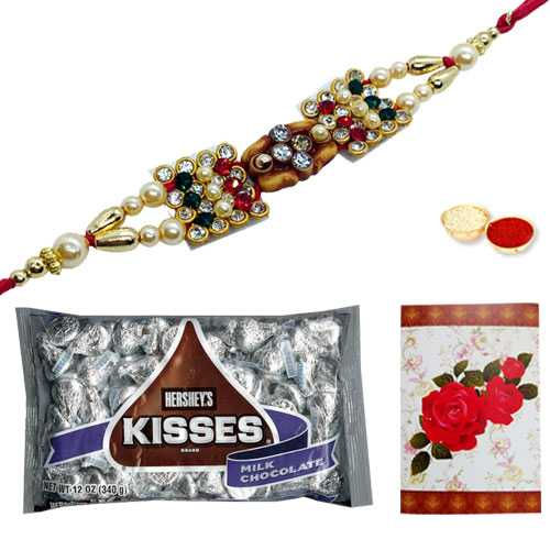 Delicious Kisses Chocolate Pack of 3 Oz. from Hersheys, Om/Ganesh Rakhi and a Free Message Card