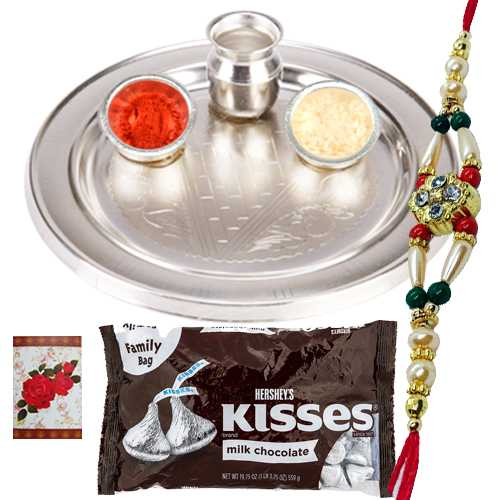 Magnificent Look of One Rakhi, Hersheys Kisses Chocolates and Silver Plated Rakhi Thali Gift