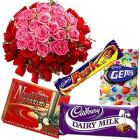 Online Pink N Red Roses with Assorted Cadbury Celebration