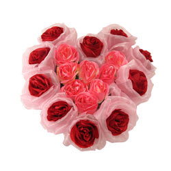 Beautiful Rhythmic 18 Pink and Red Artificial Heart Roses
