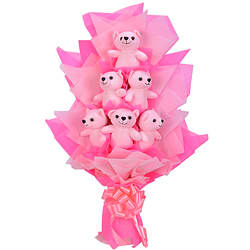 Splendid Arrangement of 6 Pink Teddies in a Bouquet