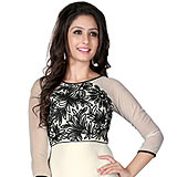 Fabulous Georgette Embroidered Kurti Coloured in White and Black