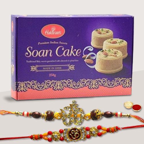 Delicious Haldiram Special Soan Cake with 2 Fancy Rakhi