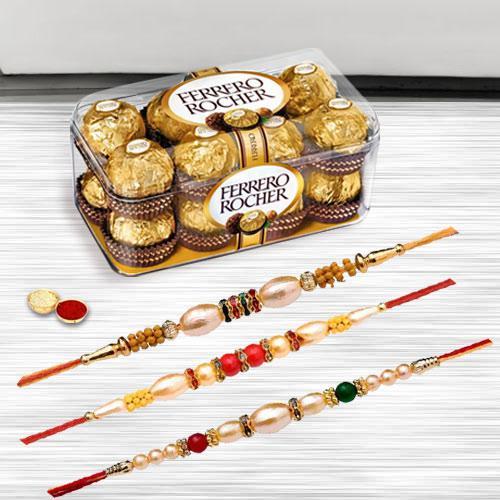 Charming Tripal Rakhi Selection with Ferrero Rocher Chocolate