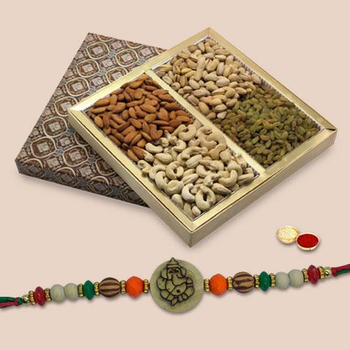 Fabulous Gift of Fancy Rakhi with Mixed Dry Fruits