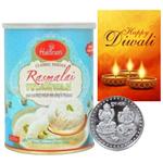 Luscious Rasmalai With Silver Plated Coin And Diwali Card