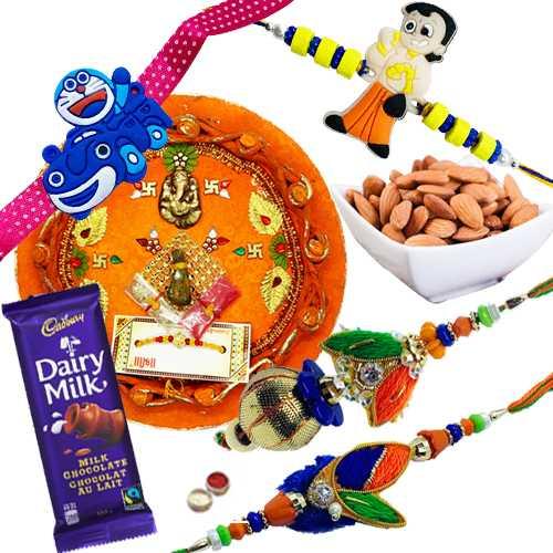 Outstanding Rakhi Combo Of Rakhi Thali With Family Rakhi Set, Cadbury Chocolate N Almonds