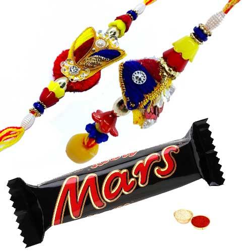 Lovely Set of Bhaiya N Bhabhi Rakhi N Mars Chocolate