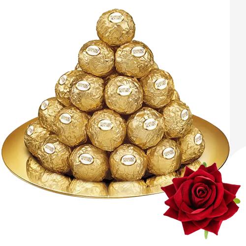 Online Gift of Ferrero Rocher with Red Velvet Rose