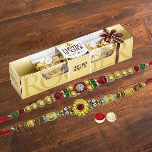 4 pcs Ferrero Rocher Chocolate Pack with 2 Rakhis and Roli Tilak Chawal