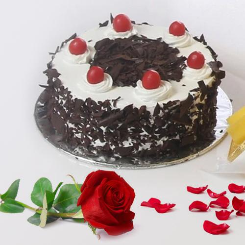 Order Black Forest Cake N Red Rose Online