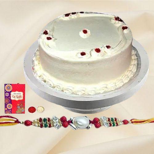 Pamper-of-Pastry 1 Lb Vanilla Cake with Free Rakhi and Roli Tilak Chawal
