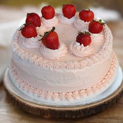 Indulgent 1 Lb Strawberry Cake from 3/4 Star Bakery to Pushpa Bhawan