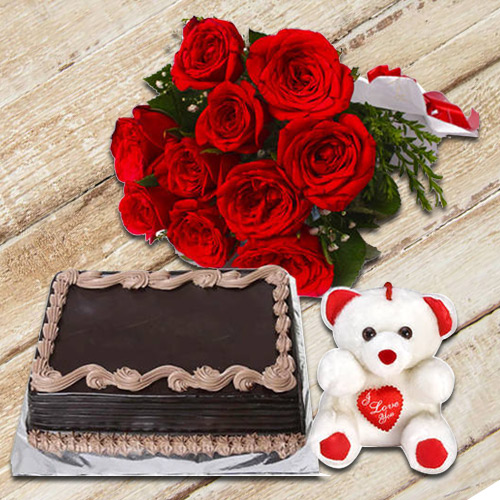 Deliver Online Red Roses Bouquet with Teddy N Chocolate Cake