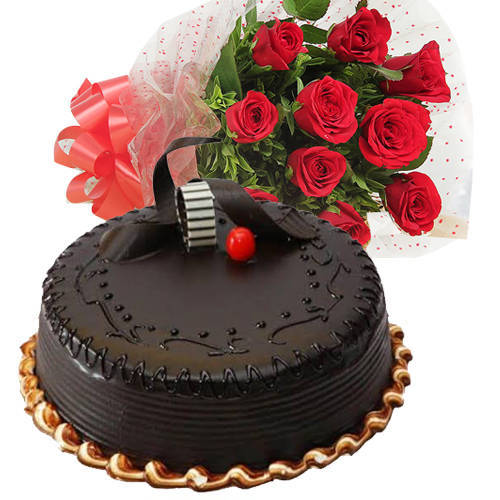 Deliver Combo Gift of Red Roses Bouquet N Chocolate Truffle Cake