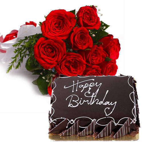 Shop Online Chocolate Cake with Red Roses Bunch