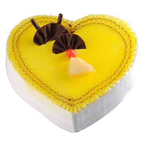Deliver Heart Shape Pineapple Cake Online