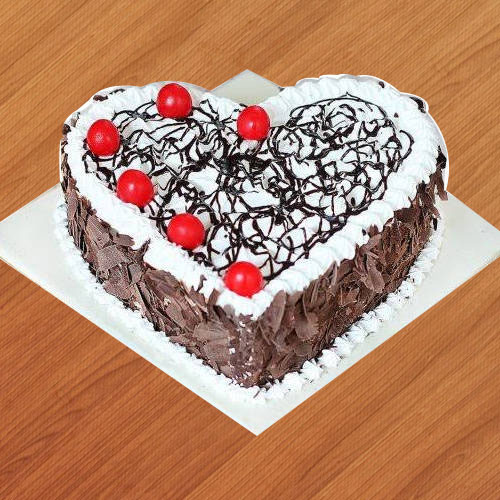 Gift Online Heart Shape Black Forest Cake