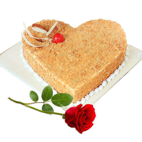 Shop Online Heart-Shape Butter Scotch Cake with Single Rose