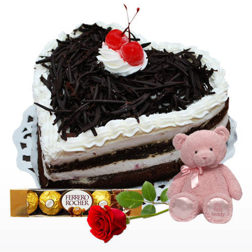 Shop Online Heart Shape Black Forest Cake with Ferrero Rocher, Teddy N Red Rose