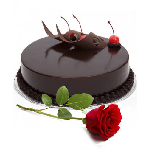 Deliver Combo of Eggless Chocolate Cake with Single Rose