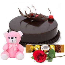 Buy Eggless Chocolate Cake Online with Teddy, Single Rose N Ferrero Rocher