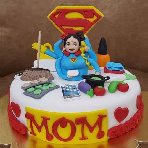Fantastic Delectable Super Mom Cake To Delhi Free Shipping Funny Birthday Cards Online Alyptdamsfinfo