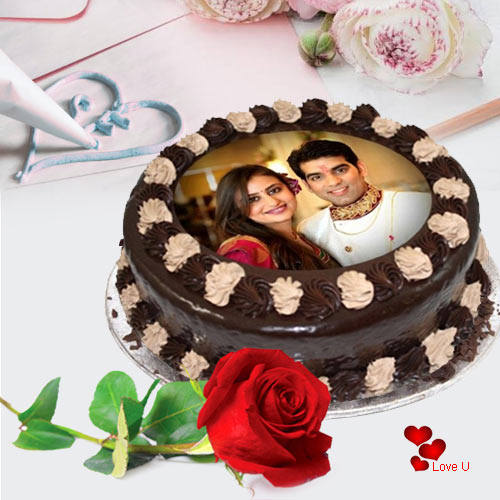Majestic Valentine Combo of Chocolate Photo Cake with Single Red Rose