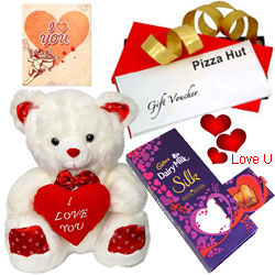 Marvelous Pizaa Hut Treat Vouchers with Love Teddy, Cadbury Dairy Milk Silk Pop Up Heart and Free Valentine Card
