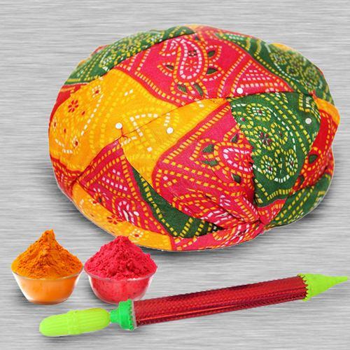 Colourful Rajasthani Cap with Pichkari N Free Gulal